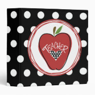 Red Apple / Black with White Polka Dots 3 Ring Binders
