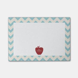 Red Apple Blue Chevron Teacher Post-it® Notes
