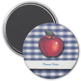 Red Apple Blue Plaid 3 Inch Round Magnet