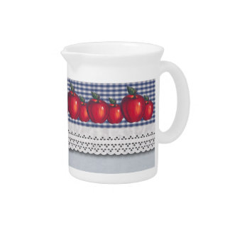 Red Apple Blue Plaid Beverage Pitchers