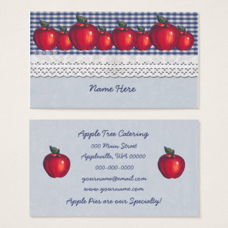 Red Apple Blue Plaid Business Card