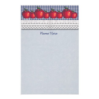 Red Apple Blue Plaid Eyelet Stationery