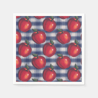 Red Apple Blue Plaid Napkin
