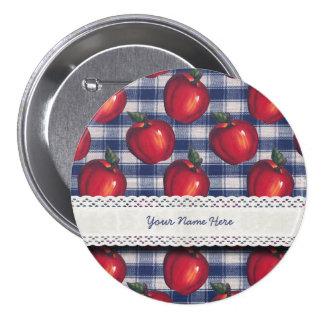 Red Apple Blue Plaid Pinback Button