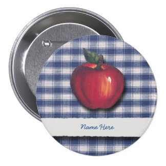 Red Apple Blue Plaid Pinback Buttons