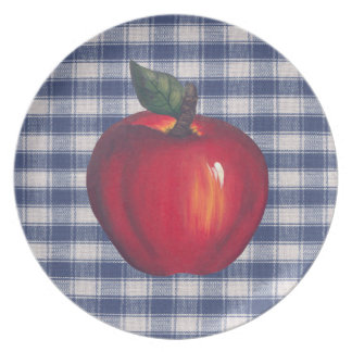 Red Apple Blue Plaid Party Plates