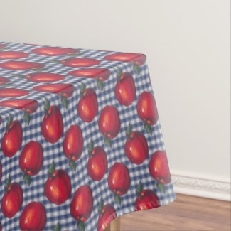 Red Apple Blue Plaid Tablecloth