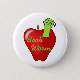 Red Apple Book  Worm Pinback Button