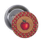 Red Apple Brown Pinback Button