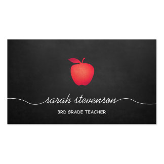Red Apple Chalkboard School Teacher Double-Sided Standard Business Cards (Pack Of 100)