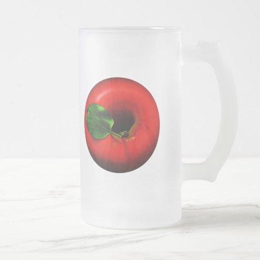 Red Apple Design 16 Oz Frosted Glass Beer Mug