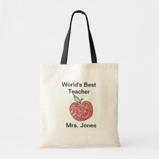 Red Apple Doodle World's Best Teacher Tote Budget Tote Bag