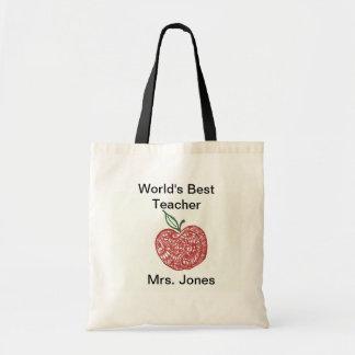 Red Apple Doodle World's Best Teacher Tote Canvas Bag