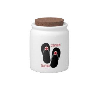 Red Apple Flip Flop Kindergarten Teacher Candy Jar