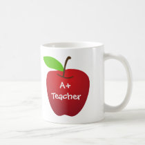 Red apple for A  teacher appreciation custom name Coffee Mug