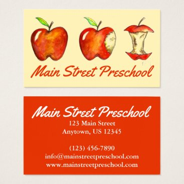 Beach Themed Red Apple Fruit Teacher School Education Preschool Business Card