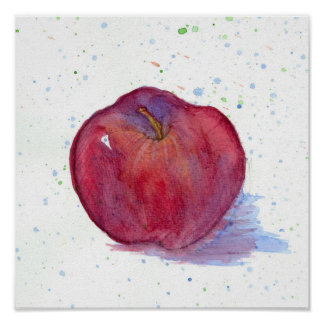 Red Apple Fruit Watercolor Painting Art Poster