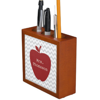 Red Apple Gray Chevron Teacher Desk Organizer