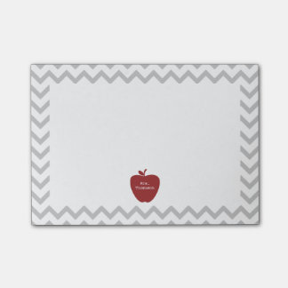 Red Apple Gray Chevron Teacher Post-it® Notes