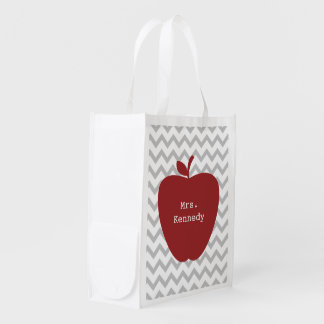 Red Apple Gray Chevron Teacher Reusable Grocery Bags