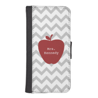 Red Apple Gray Chevron Teacher Wallet Phone Case For iPhone SE/5/5s