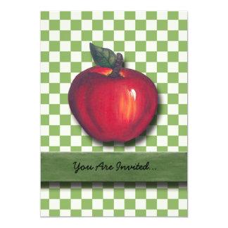 Red Apple Green Checks 5x7 Paper Invitation Card