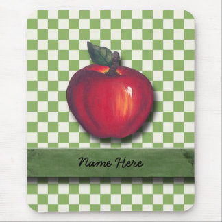 Red Apple Green Checks Mouse Pad