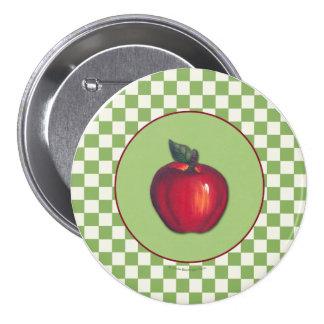 Red Apple Green Checks Pin