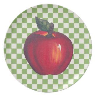 Red Apple Green Checks Plates