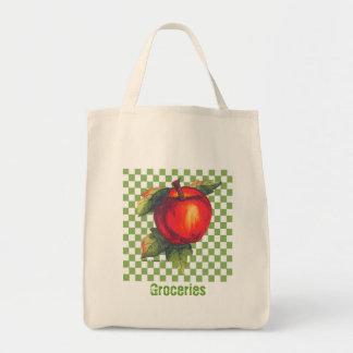 Red Apple Green Checks Tote Bag