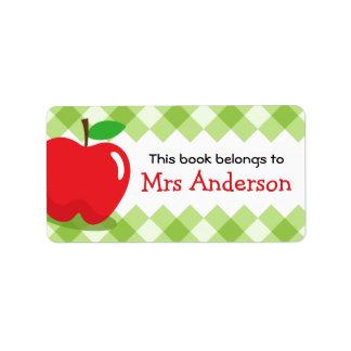 Red apple green gingham bookplate book custom address label