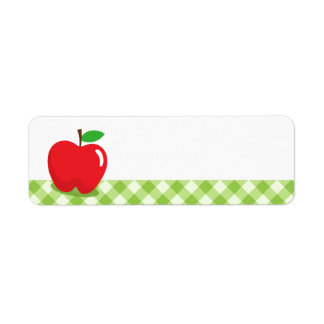 Red apple green gingham pattern border blank label
