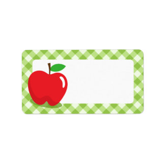 Red apple green gingham pattern border blank personalized address labels