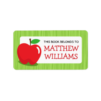 Red apple green textured border bookplate book address label