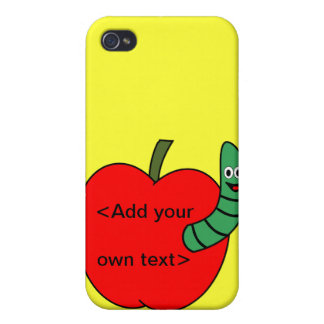 Red Apple Green Worm Case For iPhone 4