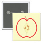 Red Apple Half. 2 Inch Square Button