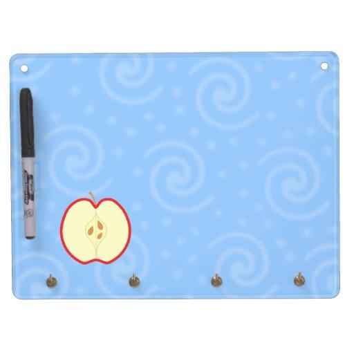 Red Apple Half. Blue Swirl Pattern Background. Dry Erase Whiteboard