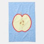 Red Apple Half. Blue Swirl Pattern Background. Kitchen Towels