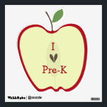 """Red Apple Half I Love Pre-K Wall Decal<br><div class=""""desc"""">A wall decal for the stylish classroom featuring a wall decal in the shape of a red apple half with seeds in the shape of a heart.  Text says &quot;I (love) Pre-K.&quot;</div>"""