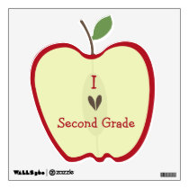 Red Apple Half I Love Second Grade Wall Decal