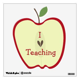 Red Apple Half I Love Teaching Wall Decal