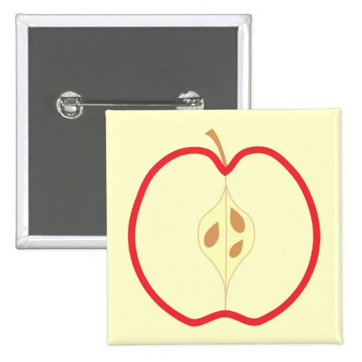 Red Apple Half, on cream background. 2 Inch Square Button