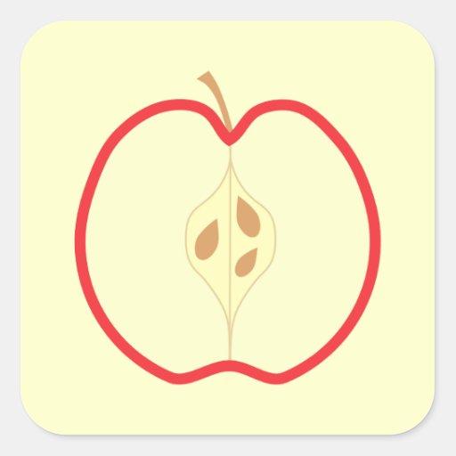 Red Apple Half, on cream background. Square Sticker