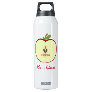 Red Apple Half Teacher 16 Oz Insulated SIGG Thermos Water Bottle