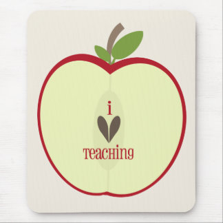 "Red Apple Half Teacher ""I Love Teaching"" Mouse Pads"