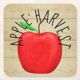 Red Apple Harvest Wooden Sign Paper Coaster