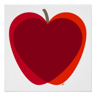 Red Apple Heart Poster