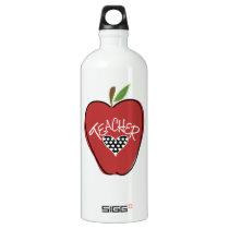 Red Apple & Heart Teacher Aluminum Water Bottle