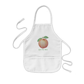 Red apple illustration with green leafs aprons
