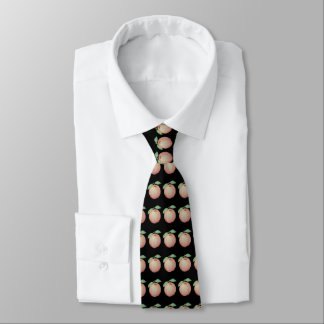 Red apple illustration with green leafs design tie